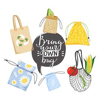 Набор различных эко сумок и надписи фразы