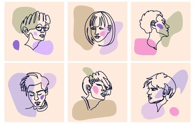 다양 한 얼굴과 추상 모양의 집합 벡터 손으로 그린 그림