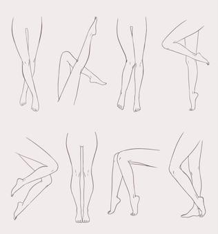 様々な女性の脚のセット。さまざまなポーズで手描きの輪郭の女性の足。黒と白のベクトルイラストコレクション。