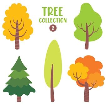 다양 한 평평한 나무 세트