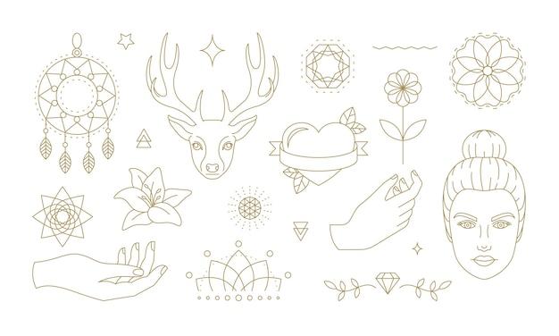 さまざまな花と動物のシンボルのセット