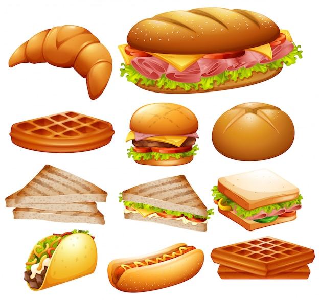 다양한 음식 세트