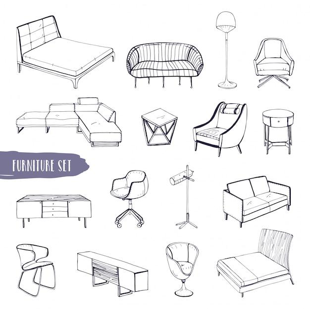 様々な家具のセット。手描きのさまざまな種類のソファ、椅子、アームチェア、ベッドサイドテーブル、ベッド、テーブル、ランプコレクション。黒と白のスケッチ図。