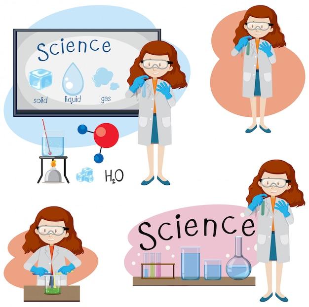 Набор различных девочек науки