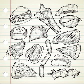 Набор различных рисованных продуктов