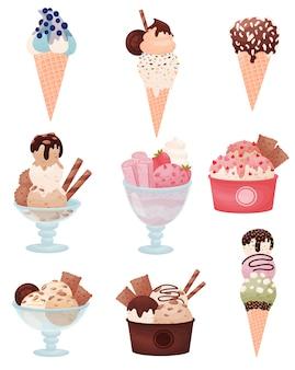 Набор различных изображений мороженого в вафельном стаканчике и чашке. украшается сиропом, клубникой, смородиной, шоколадом, печеньем, миндалем.