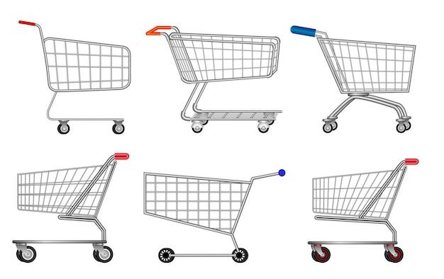 Набор различных изолированных металлических тележек для покупок eps вектор