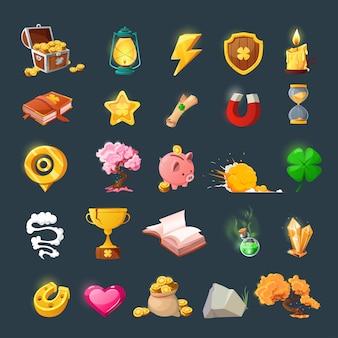 게임 사용자 인터페이스 디자인을위한 다양한 아이템 세트. 환상의 게임을위한 마법 아이템과 리소스를 만화 화하십시오.