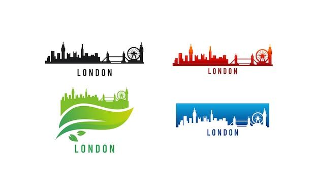 Набор различных лондонских горизонтов города силуэт векторные иллюстрации