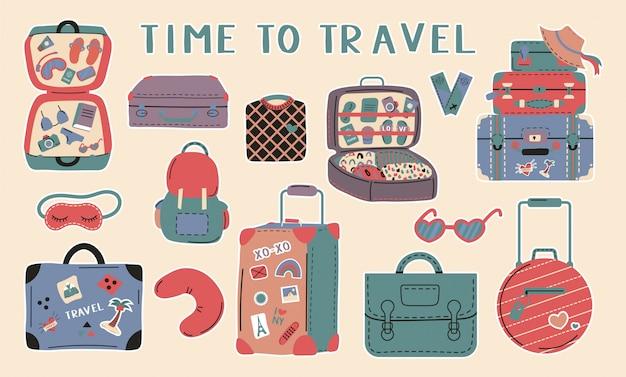Набор различных багажных сумок, чемоданов