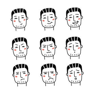 Набор различных мужских эмоций красивый мужчина в разных эмоциональных снимках головы, символизирующих счастливые, грустные и ...