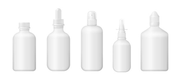 의약품, 알약, 정제 및 비타민에 대한 다양한 의료 병의 집합입니다. 3d 의료 빈 상자입니다. 흰색 플라스틱 패키지 디자인. 사실적인 포장 모형 템플릿입니다.