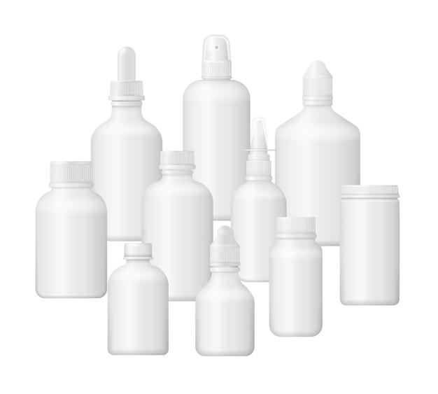 Набор различных медицинских флаконов для лекарств, пилюль, таблеток и витаминов. медицинская пустая коробка 3d. белый пластиковый корпус. фотореалистичный шаблон упаковки.