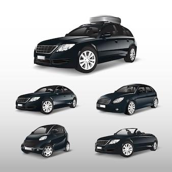 Набор различных моделей черных автомобилей векторов