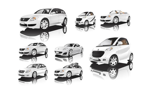 흰색 자동차 벡터의 다양한 모델 세트