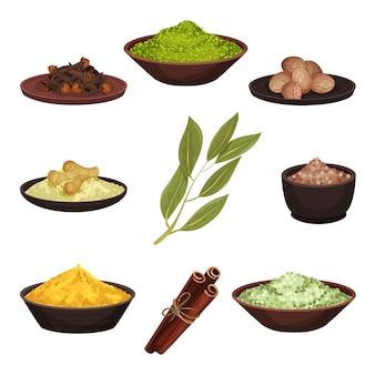さまざまな天然スパイスのセット。食品の芳香族調味料。食材を調理します。料理のテーマ