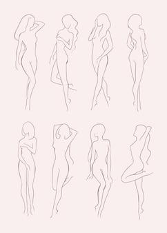 Набор различных силуэт обнаженной женщины. красивая длинноволосая девушка в разных позах. коллекция рисованной векторные иллюстрации.