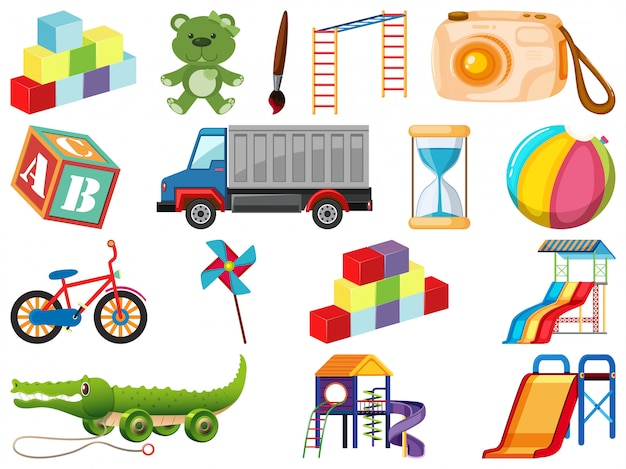 Набор различных предметов мультфильма Premium векторы