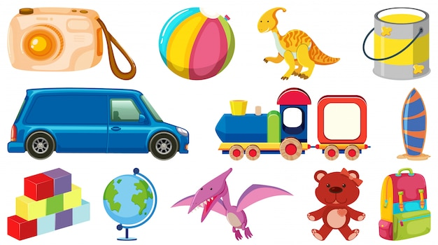 Набор различных объектов мультфильм