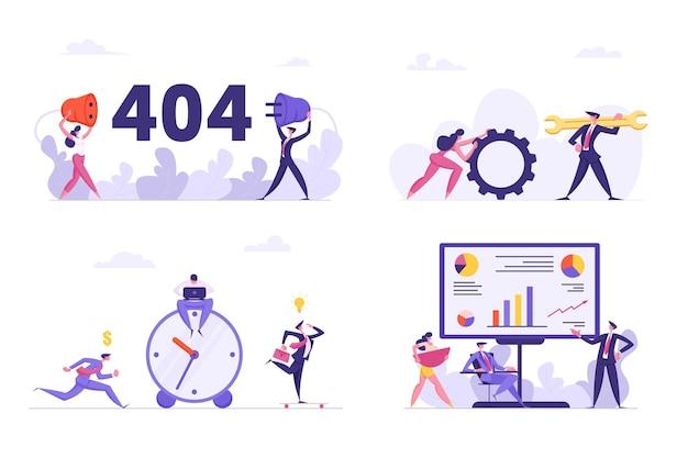 Набор различных офисных ситуаций иллюстрации