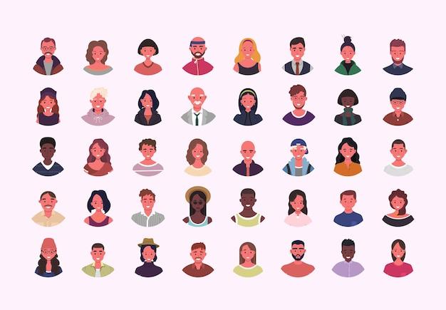 さまざまな人々のアバターのイラストのセット多民族のユーザーの肖像画異なる人間の顔