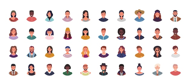 다양한 사람들이 아바타 그림의 집합입니다. 다민족 사용자 초상화. 남성과 여성 캐릭터.