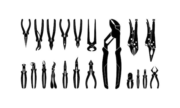 さまざまなペンチ、はさみ、鉗子のシルエットのベクトル図のセット
