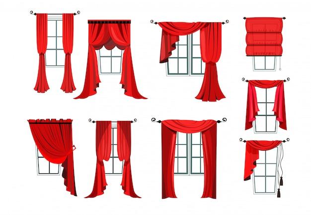 様々な赤いカーテンのセット