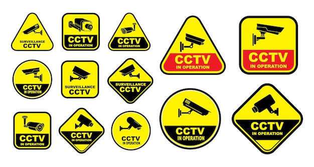 거리 가정 및 건물 개념 eps 벡터에 대한 다양한 보안 카메라 또는 cctv 세트