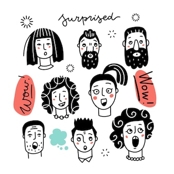 さまざまな驚きの女性と男性の混合年齢と民族グループのセットは、驚きの感情を表現しています...