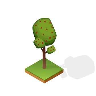 흰색 배경에 고립 된 다양 한 유형의 나무의 집합입니다. 아이소 메트릭 풍경을위한 녹색 식물