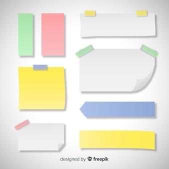 현실적인 스타일의 다양 한 유형의 스티커 메모 세트