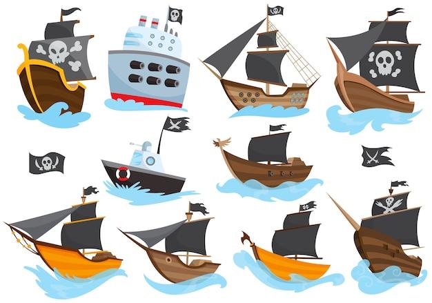 Набор различных типов стилизованный мультфильм пиратские корабли иллюстрации с черными парусами. галеоны с изображением весёлого роджера. симпатичный рисунок. коллекция пиратских кораблей, плывущих по воде.