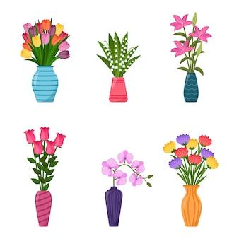 花と花瓶のセット。花瓶、ベクトルイラストの花の花束のコレクション