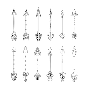 幾何学的な装飾と自由奔放に生きるスタイルのベクトル矢印のセットです。