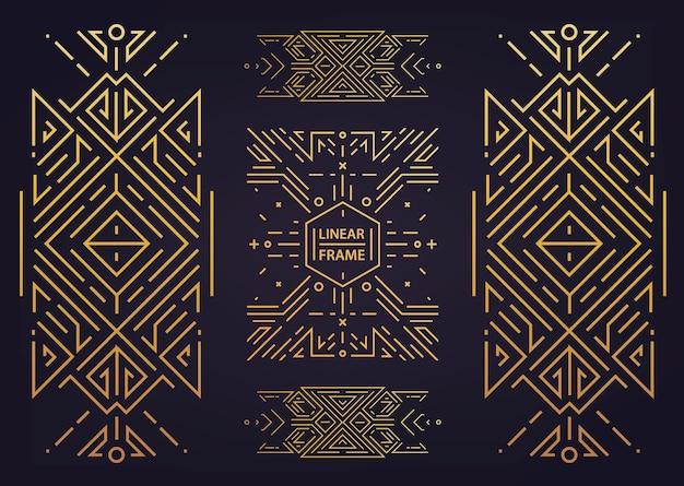 Набор векторных арт-деко золотые границы, рамки. креативные шаблоны в стиле 1920-х годов. модная обложка, графический постер, брошюра гэтсби, дизайн, упаковка и брендинг. геометрические формы, орнаменты, элемент