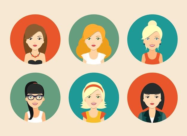 さまざまな女性のベクトルアバターのセット。ベクトルイラスト
