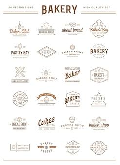 Набор векторных элементов хлебобулочных изделий и хлебных значков, которые можно использовать в качестве логотипа или значка в премиальном качестве.