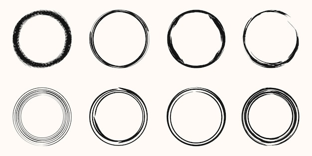 ベクトル黒丸ブラシストロークのセットです。スタンプ、シール、インク、絵筆のデザインテンプレート用。