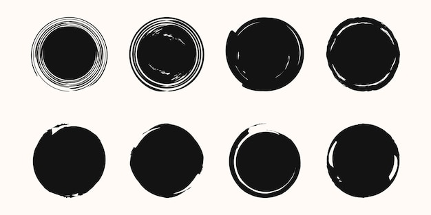 Набор векторных черной краской стиль текстуры.