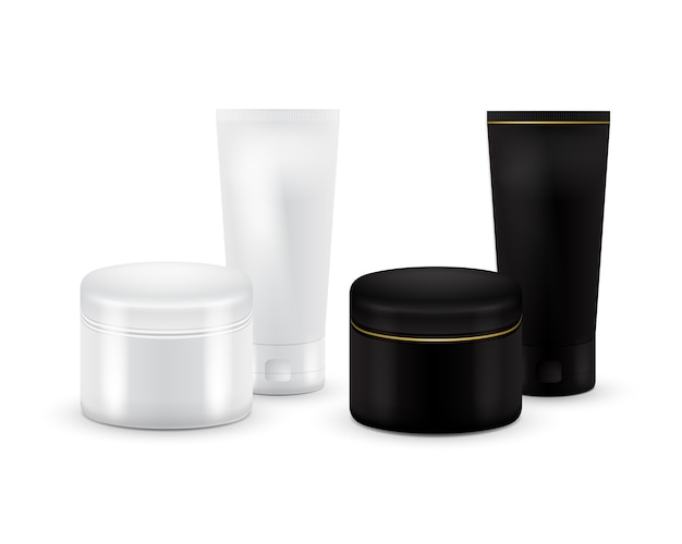 크림, 파우더 또는 젤에 대 한 벡터 빈 화장품 용기의 집합입니다. 흑백. 화장품 용기. 모의 치약, 크림, 혈청 또는 깨끗한 튜브. 제품 포장.