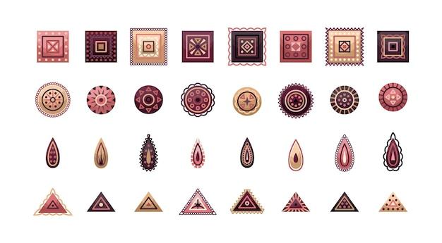 幾何学的要素を持つベクトル自由奔放に生きる装飾品のセット。フラットスタイル