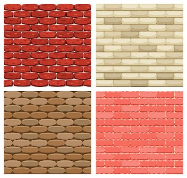 Набор векторных кирпичной стены бесшовные фоны