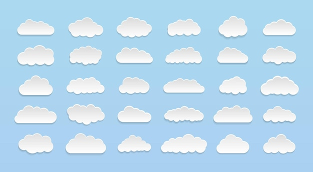 Набор векторных мультяшных облаков на синем фоне. набор голубого неба.