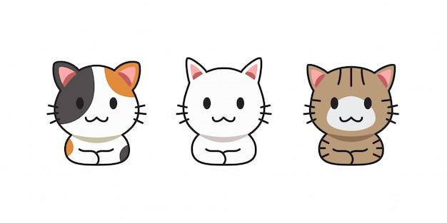 ベクトル漫画かわいい猫のセット