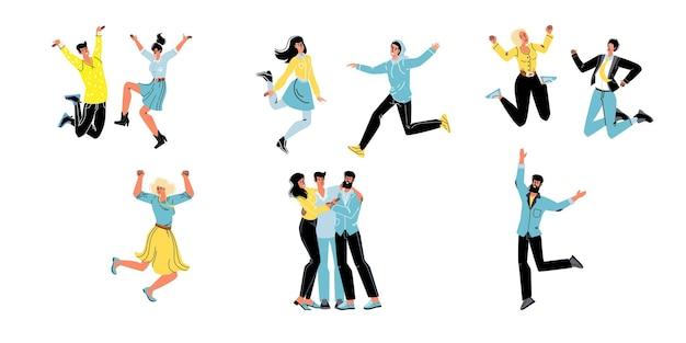 Набор векторных мультфильмов плоских персонажей друзей счастливы обниматься, радоваться вместе, дружная команда молодых людей празднуют успех, счастливо прыгать-общение, эмоции, дружба, социальная концепция
