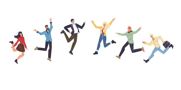 Набор векторных мультяшных плоских персонажей друзей в счастливом настроении, радуются вместе, молодые люди празднуют успех, счастливо прыгают - общение, эмоции, дружба, социальная концепция