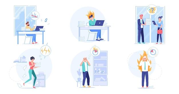 Набор векторных мультяшных плоских персонажей сотрудников, сцены крайнего срока работы. разочарование, паника, паника, переутомление в крайнем сроке, стрессовая ситуация, оптимизация рабочего процесса, концепция баннера веб-сайта