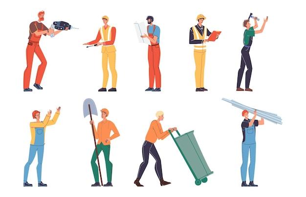 Набор векторных мультяшных плоских промышленных рабочих персонажей на работе. инженеры на производстве нефтяного газа, ремонте жилых домов, вывозе мусора.