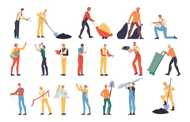 Набор векторных мультфильмов плоских промышленных рабочих персонажей на работе. инженеры на производстве нефтяного газа, дорожное строительство, ремонт зданий, работы по вывозу мусора